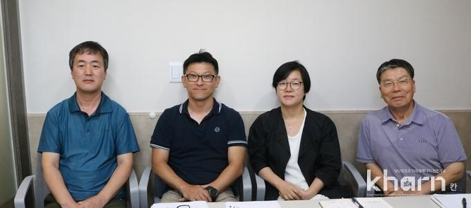 (좌부터)조강희 동신 대표, 허태식 센솔루션 지사장, 이동온 신화 대표, 조영갑 둥지실버홈 이사장